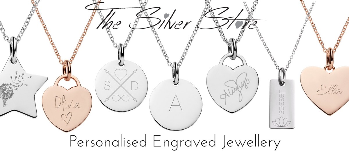 Engraved necklaces from The Silver Store, customise jewellery with initial, name, message or images.