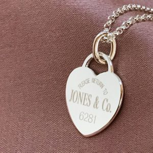 Tiffany styled return to JONES & Co. engraved on heart tag pendant