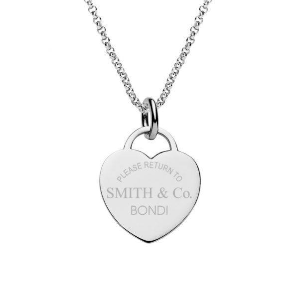 return to tiffany style engraved heart tag