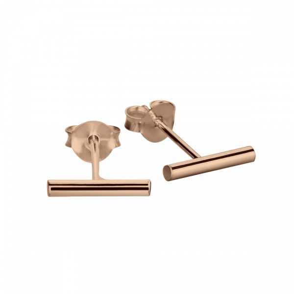 rose gold cylinder stud earrings