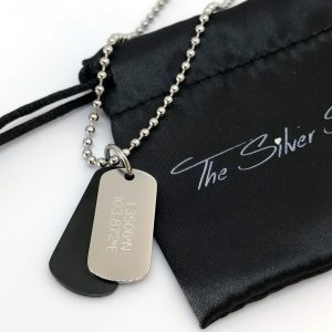 map coordinates engraved on mens double dogtag necklace