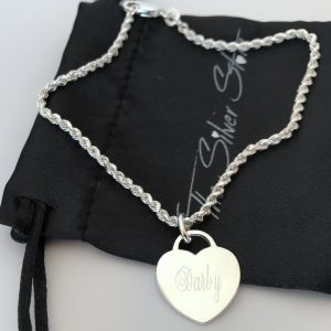 french rope bracelet with heart tag engraved with name