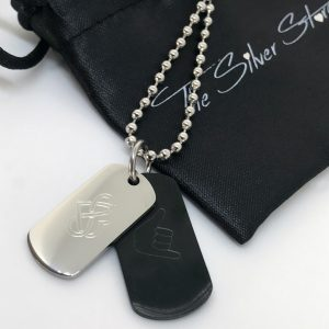 mens double dog tag necklace engraved