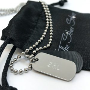 mens engraved dog tag necklace