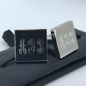 engraved monogram cufflink AJB from The Silver Store
