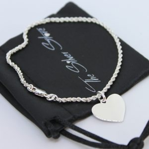 rope bracelet with engravable heart pendant