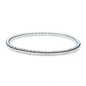 3mm stretch silver bead bracelet