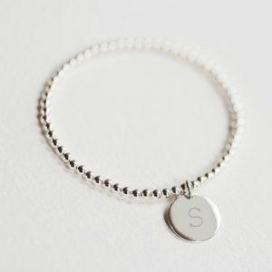 initial silver bead bracelet