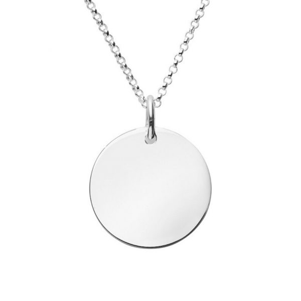 engraved large disc necklace with rolo chain