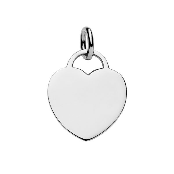 personalised large sterling silver heart tag pendant