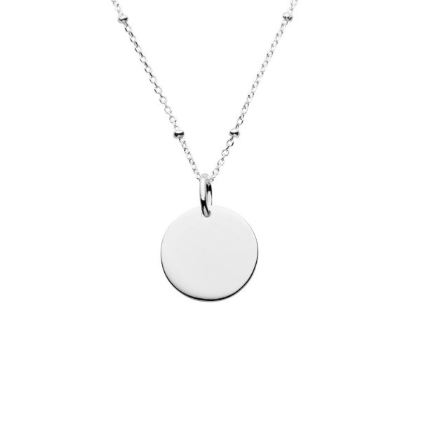 silver mini disc satellite necklace