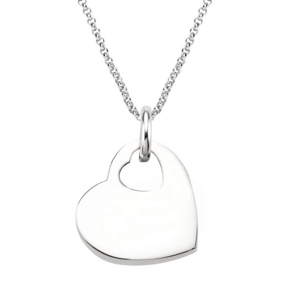 engraved sterling silver heart cut out necklace