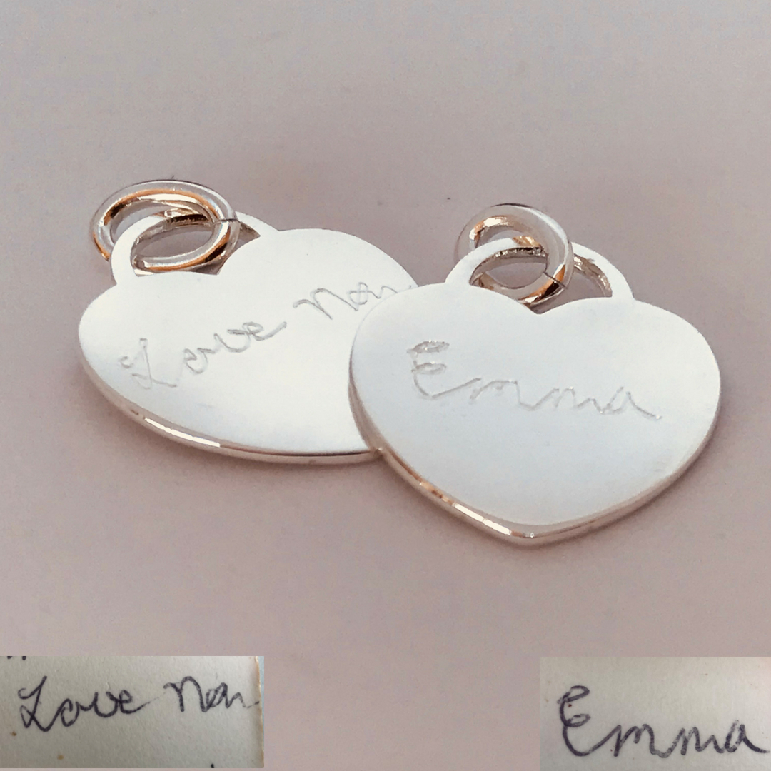 handwriting engraved on sterling silver pendant