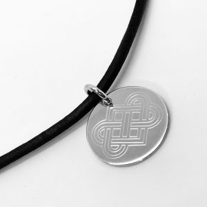 silver disc necklace with leather chain