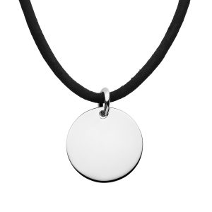 mens leather necklace with disc pendant