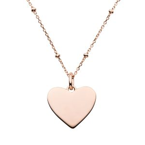 rose gold satellite chain with heart pendant