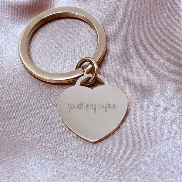 b21ea7944904 Engraved Rose Gold Heart Keyring. Men s Sterling Silver ...