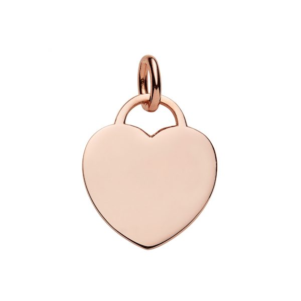 large rose gold heart tag pendant