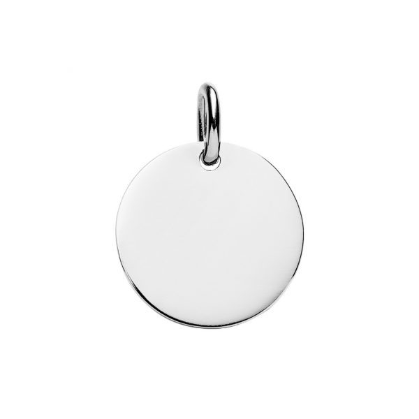 personalised large sterling silver disc pendant
