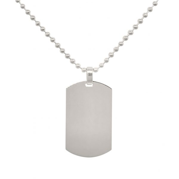 mens large sterling silver dog tag necklace
