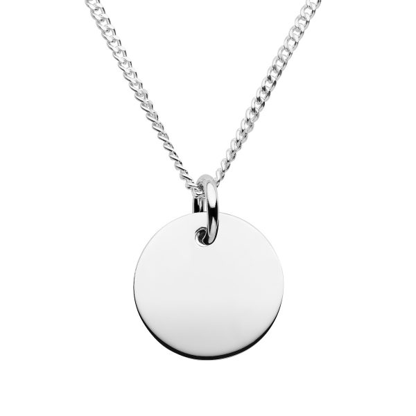 mens personalised silver disc necklace
