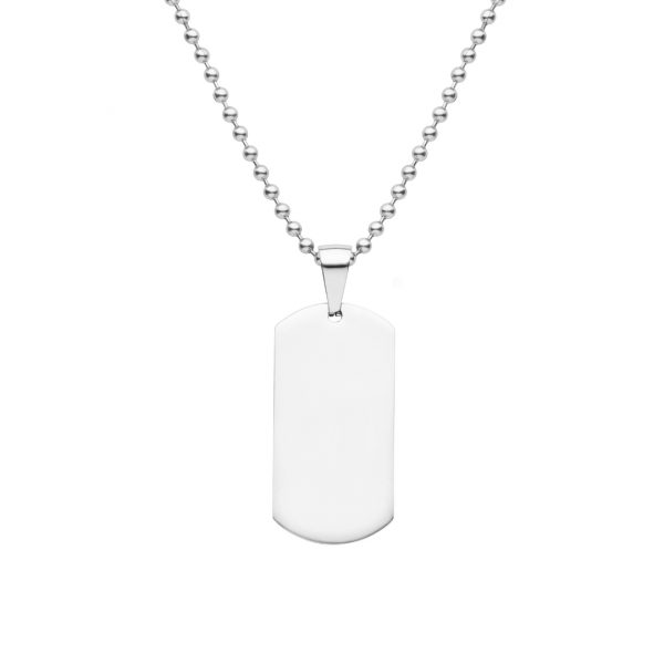 mens solid sterling silver dog tag necklace can be engraved both sides
