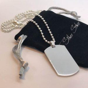 mens wide sterling silver dog tag necklace engrave with any text or image