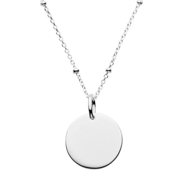 personalised silver satellite disc necklace