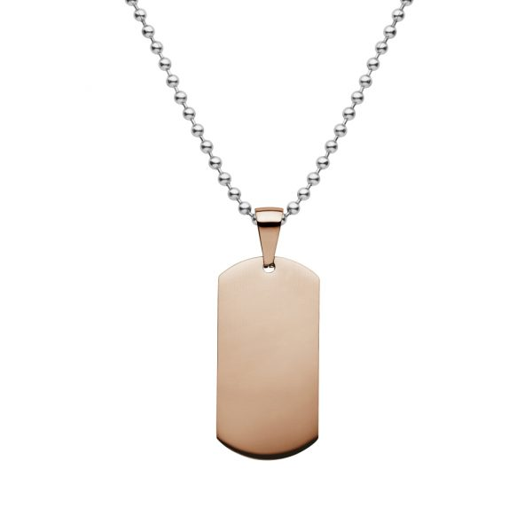 steel dog tag plated with rose gold