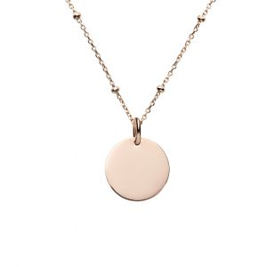 rose gold mini disc necklace satellite chain