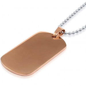 rose gold dog tag with silver ball chain