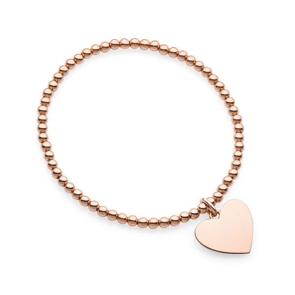 rose gold elastic bead bracelet with heart pendant