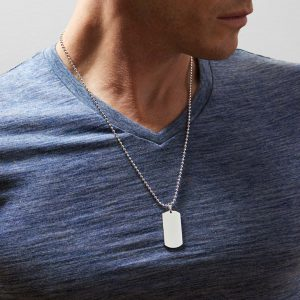sterling silver dog tag men's necklace personalise