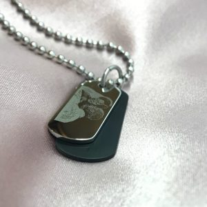 wedding photo engraved on dog tag necklace
