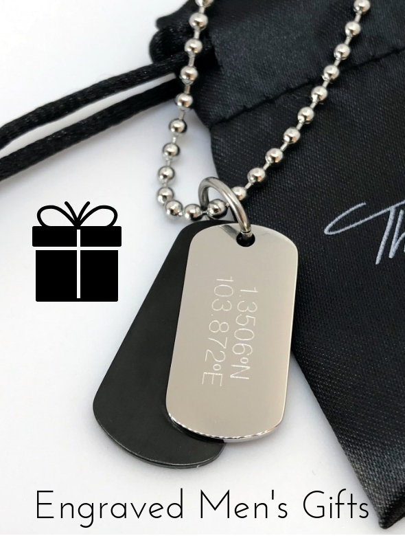 mens engraved gifts and dog tag necklaces for Christmas