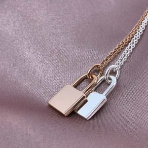 rose gold and silver lock necklace with cable chains
