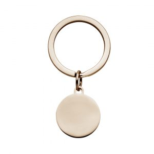 rose gold disc keyring made from stainless steel plated with rose gold.