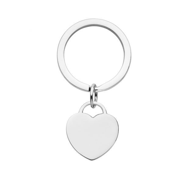 stainless steel engraved heart keyring