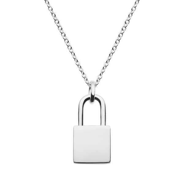 sterling silver lock necklace engrave with name, initials special date etc