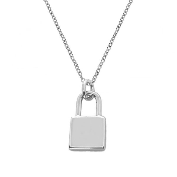 silver lock necklace for initials