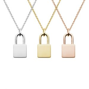 lock necklace silver and gold plated