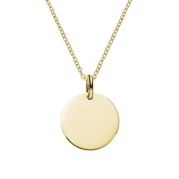 engraved yellow gold disc necklace