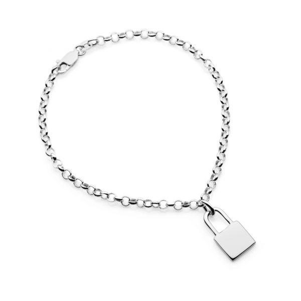 engraved padlock bracelet