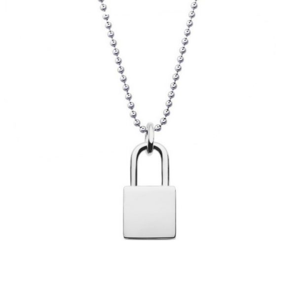 lock necklace with ball chain can be engraved