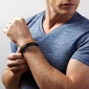 mens black leather bracelet - engrave the clasp