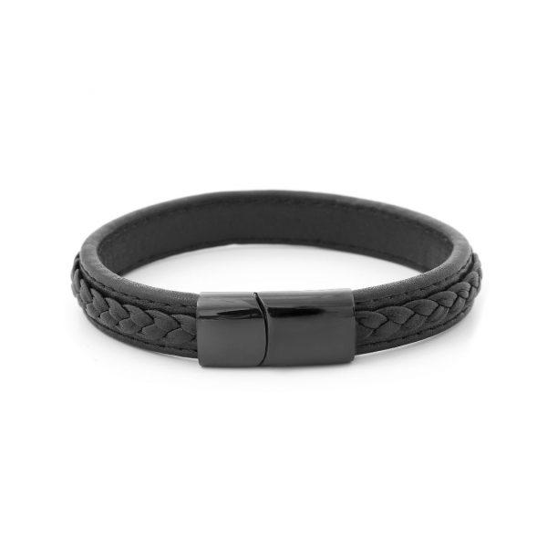 mens engarved black leather bracelet