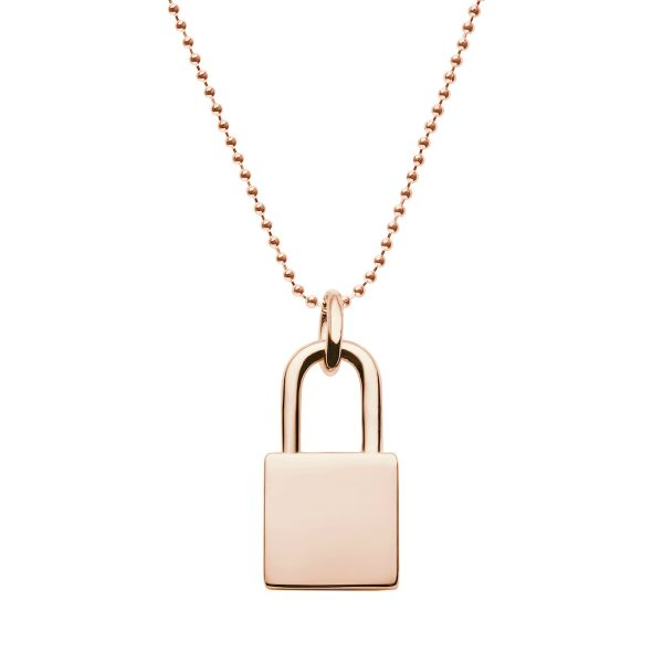 rose gold lock necklace with ball chain