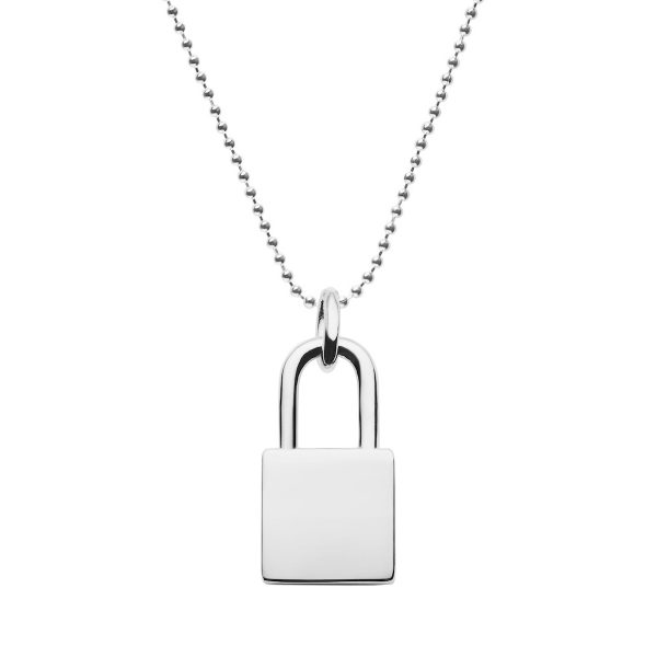 925 silver lock pendant with ball chain