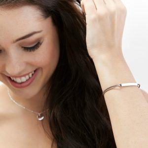 Engraved adjustable womens silver ID bracelet