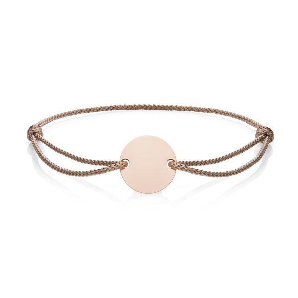 Natural Cord & Rose Gold Engraved Disc Bracelet